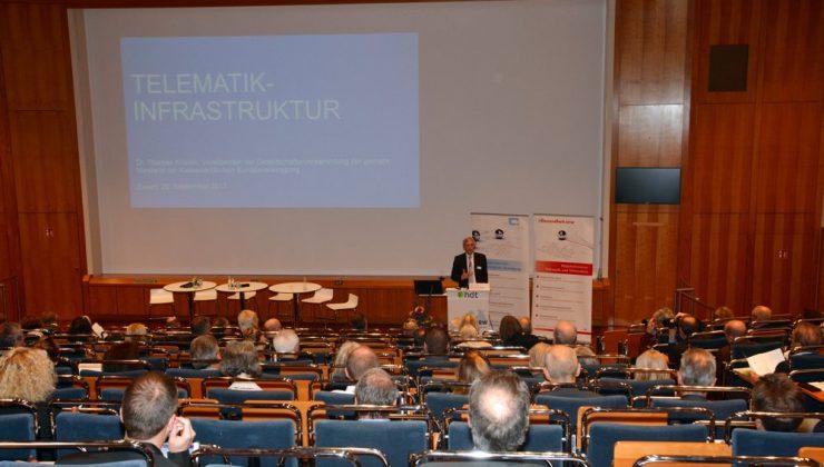 Dr. rer. soc. Thomas Kriedel, Vorsitzender der gematik Gesellschafterversammlung, spricht über den aktuellen Stand des Aufbaus der Telematikinfrastruktur.